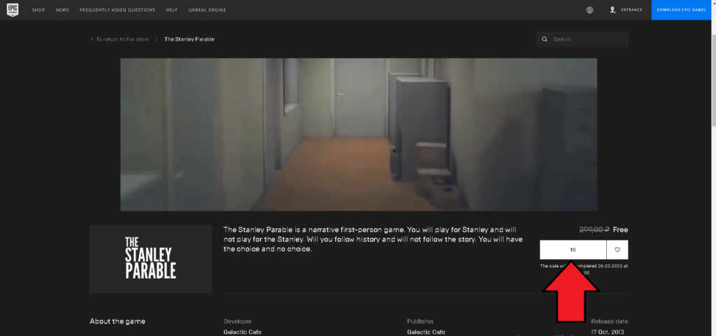 The Stanley Parable on Epic Games for free. How to get
