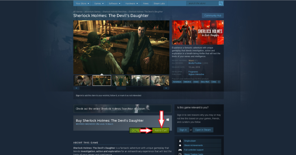 How to get Sherlock Holmes: The Devil's Daughter at a discount of 90% on Steam