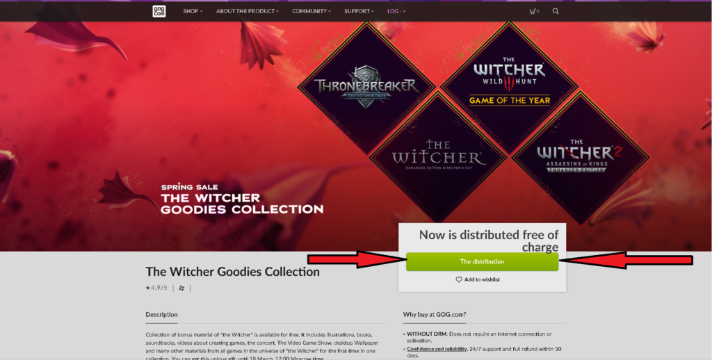 The Witcher Goodies Collection on GOG for free, how to take