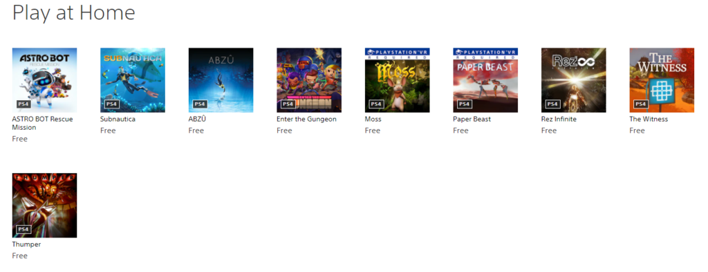 Play at Home | 9 Free games on PlayStation Store